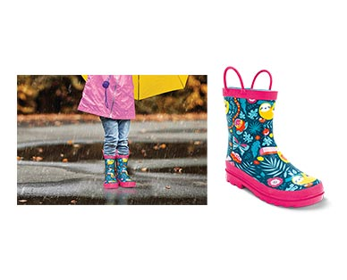 Lily & Dan Girls' Rain Boots Tropical Sloth In Use