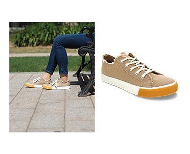 Serra Ladies' Memory Foam Canvas Sneakers Beige In Use