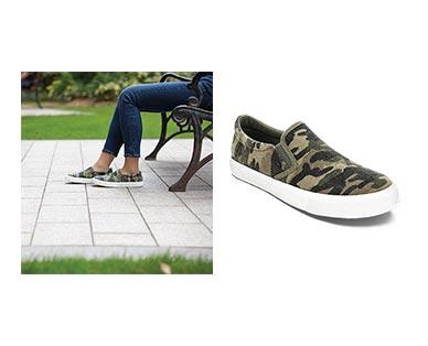 Serra Ladies' Memory Foam Canvas Sneakers Camo Print In Use