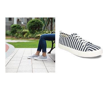 Serra Ladies' Memory Foam Canvas Sneakers Navy/White Stripe In Use