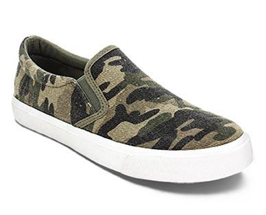 Serra Ladies' Memory Foam Canvas Sneakers Camo Print