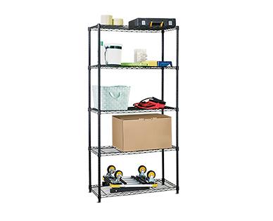 WORKZONE 5-Tier Black Shelves In Use