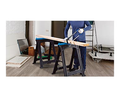 WORKZONE Foldable Sawhorse 2-Pack In Use