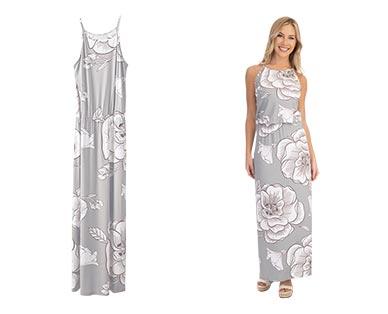 Serra Ladies' Maxi Dress Gray/White Floral Halter In Use
