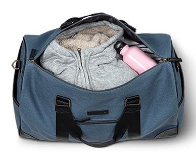 Skylite Weekender Duffle Bag Solid Blue Orion In Use