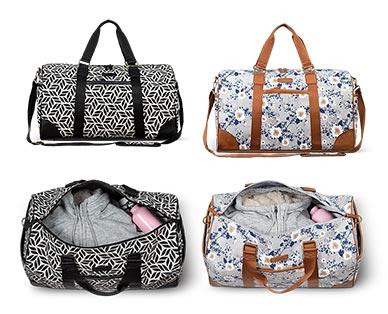 Skylite Weekender Duffle Bag Geometric Print and Floral In Use