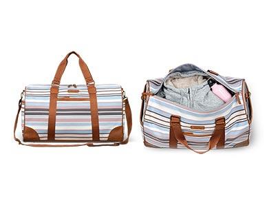 Skylite Weekender Duffle Bag Stripe Print In Use