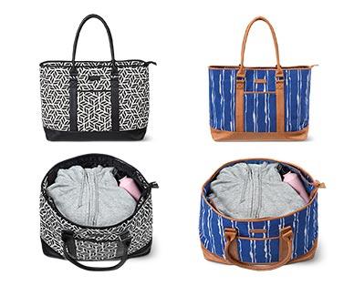 Skylite Weekender Tote Bag Geometric Print and Blue Tie-Dye In Use