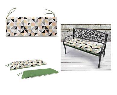 Belavi Garden Bench Cushion Reversible Geometric In Use