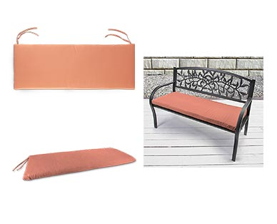 Belavi Garden Bench Cushion Reversible Geometric Canyon Sunset In Use