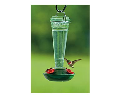 Belavi Hummingbird Feeder Clear Swirl Glass In Use
