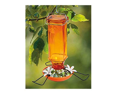 Belavi Hummingbird Feeder Orange Oriole Glass In Use