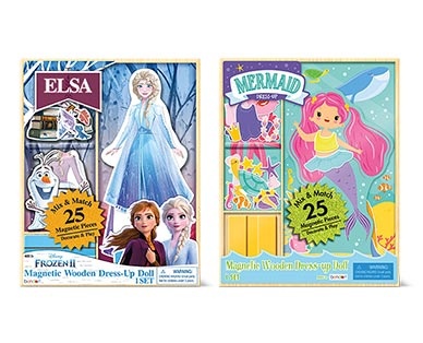 Bendon 25-Piece Magnetic Dress-Up Doll Elsa and Mermaid