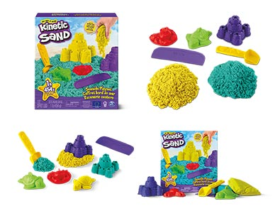 Kinetic Sand Seaside Play Set Yellow and Turquoise In Use View 2