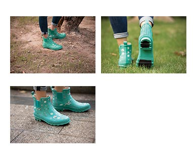 Gardenline Ladies' Garden Boots Green Floral In Use