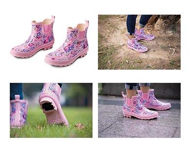Gardenline Ladies' Garden Boots Pink Floral In Use