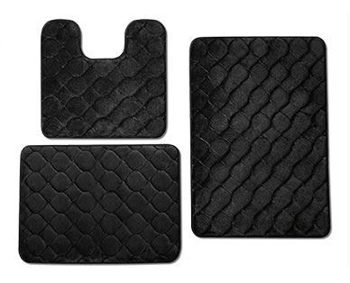 Huntington Home 3-Piece Memory Foam Bath Mat Set Black
