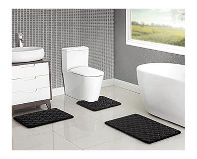 Huntington Home 3-Piece Memory Foam Bath Mat Set Black In Use
