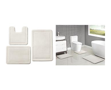 Huntington Home 3-Piece Memory Foam Bath Mat Set White In Use