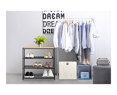 Huntington Home 4-Tier Faux Wood Shoe Rack In Use View 1