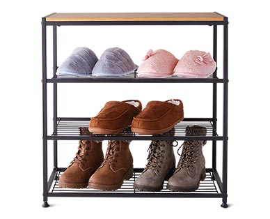 Huntington Home 4-Tier Faux Wood Shoe Rack In Use View 2