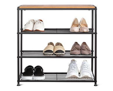 Huntington Home 4-Tier Faux Wood Shoe Rack In Use View 3