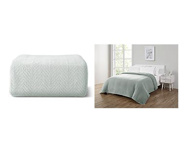 Huntington Home Full/Queen or King Cotton Blanket Gray In Use