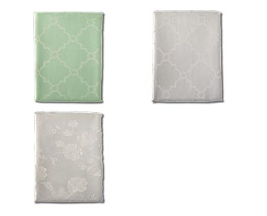 Huntington Home Jacquard Tablecloth Teal/Gray and Floral/Trellis