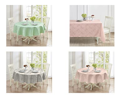 Huntington Home Jacquard Tablecloth Teal/Gray/Pink Floral or Trellis In Use View 1