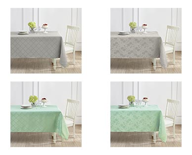 Huntington Home Jacquard Tablecloth Teal/Gray Floral or Trellis In Use View 2