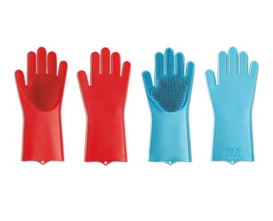 Easy Home Silicone Scrub Gloves Red and Teal