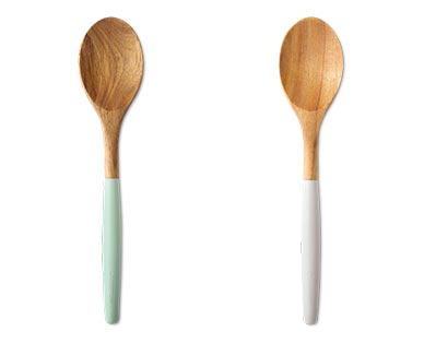 Crofton Acacia & Silicone Utensils Spoon Cool Gray and Sage Green