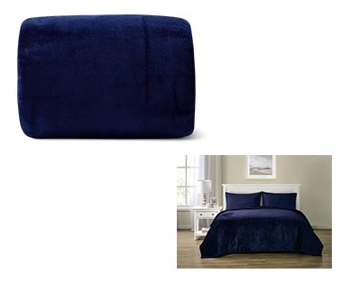 Huntington Home Full/Queen or King Royal Plush Blanket Blue In Use