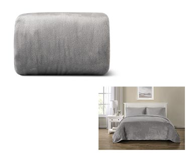 Huntington Home Full/Queen or King Royal Plush Blanket Gray In Use