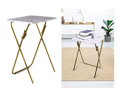 SOHL Furniture Folding Tray Table Marble In Use