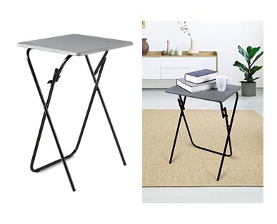 SOHL Furniture Folding Tray Table Gray In Use