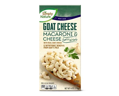 Simply Nature Goat Cheese Deluxe Macaroni & Cheese or Shells & Cheese Garlic & Herb