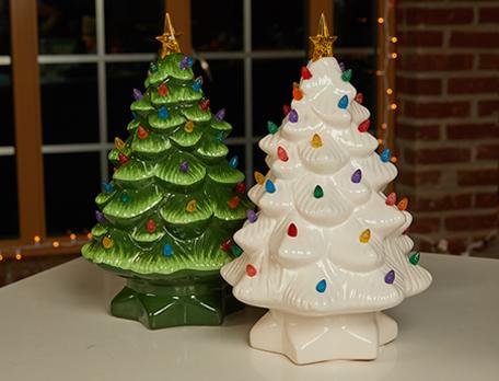 Green and white Christmas tree decor