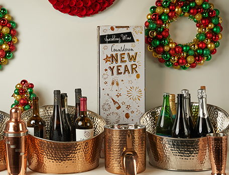Sparkling Wine Countdown to the New Year with wine bottles