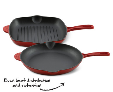"""Crofton Cast Iron 10.25"""" Grill Pan or 12"""" Frying Pan"""